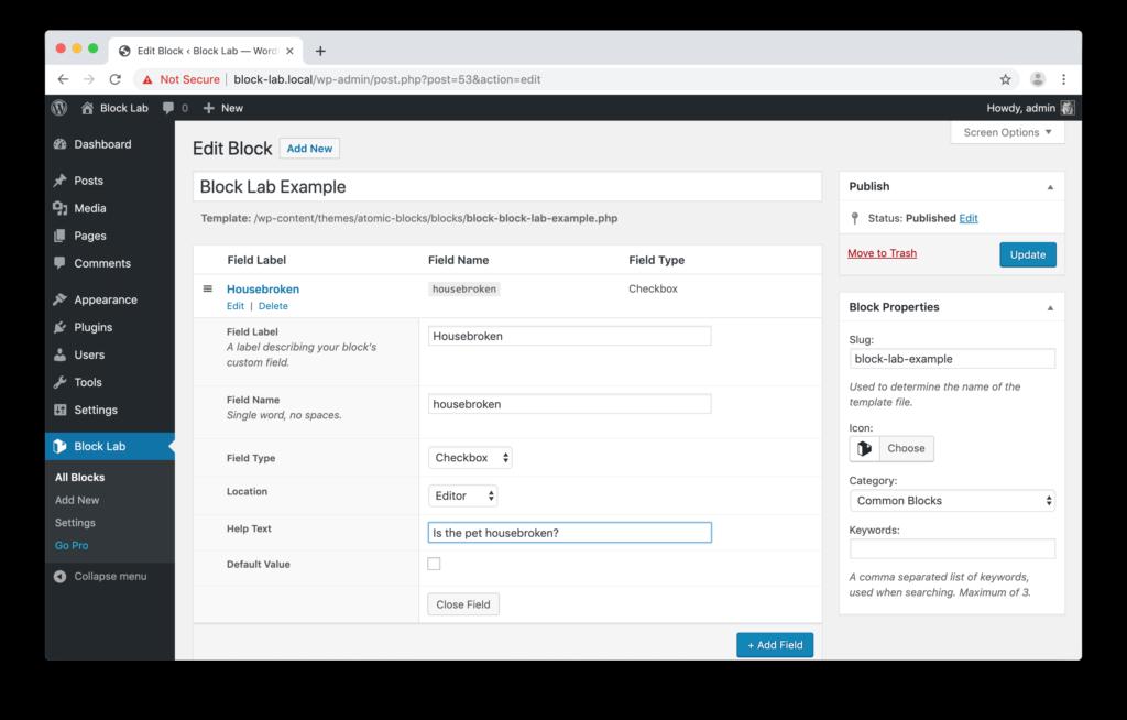 Screenshot showing the Checkbox block editor