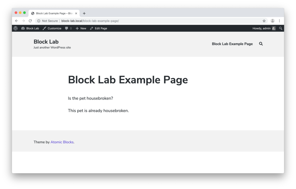 Screenshot showing the block displayed on the web page