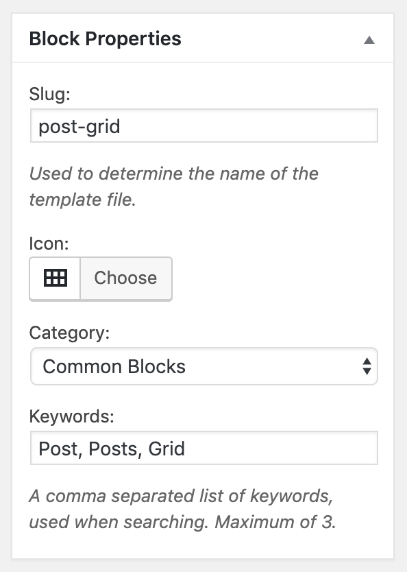 Custom Post Grid Block - Block Properties
