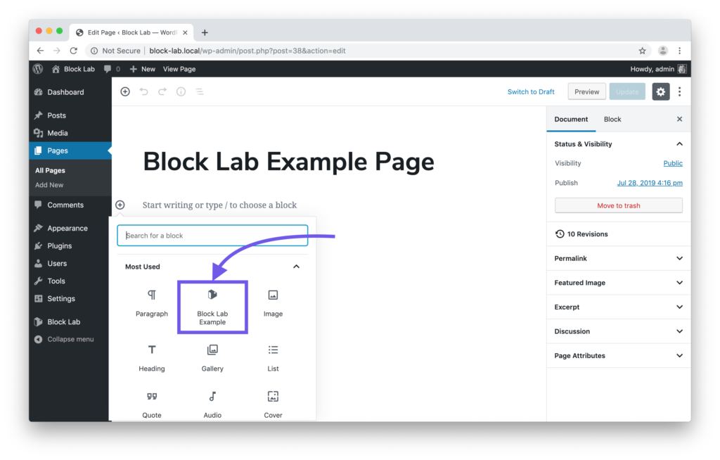 Screenshot showing the Block Lab custom block in the menu