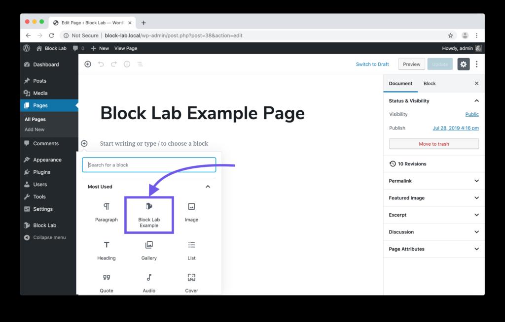 Screenshot showing the Block Lab custom block in the menu