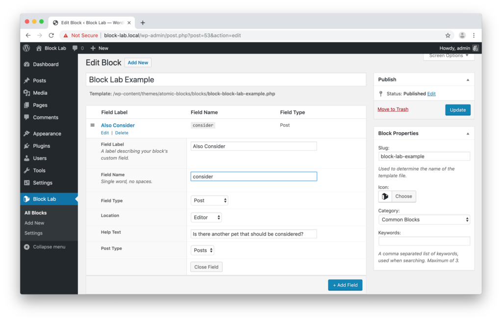 Screenshot showing the Post field block editor